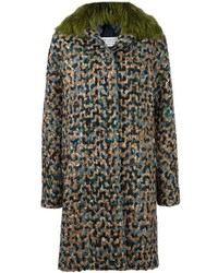 Manteau à col fourrure bleu canard Maison Margiela