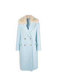 Manteau à col fourrure bleu clair Ermanno Scervino