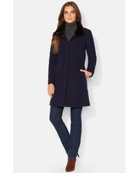 Manteau à col fourrure bleu marine