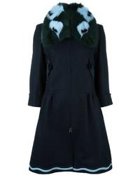 Manteau à col fourrure bleu marine Fendi