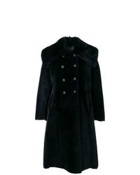 Manteau à col fourrure bleu marine Giorgio Armani