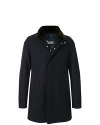 Manteau à col fourrure bleu marine Herno