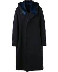 Manteau à col fourrure bleu marine Lanvin