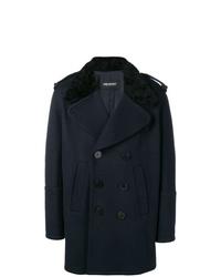 Manteau à col fourrure bleu marine Neil Barrett