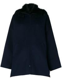 Manteau à col fourrure bleu marine P.A.R.O.S.H.