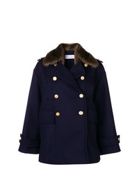 Manteau à col fourrure bleu marine RED Valentino