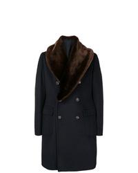 Manteau à col fourrure bleu marine Tagliatore