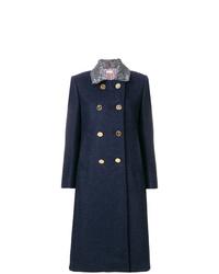 Manteau à col fourrure bleu marine Thom Browne