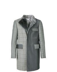 Manteau à col fourrure gris foncé
