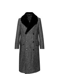 Manteau à col fourrure gris foncé Dunhill