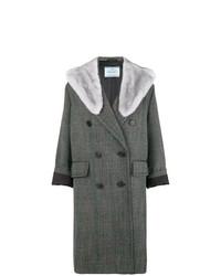 Manteau à col fourrure gris foncé Prada