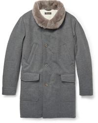 Manteau à col fourrure gris