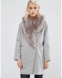 Manteau à col fourrure gris Asos