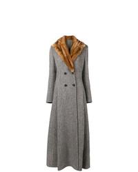 Manteau à col fourrure gris Ermanno Scervino
