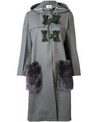 Manteau à col fourrure gris Fendi