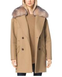 Manteau à col fourrure marron clair