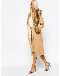 Manteau à col fourrure marron clair Missguided