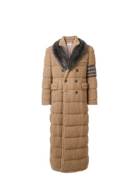 Manteau à col fourrure marron clair Thom Browne