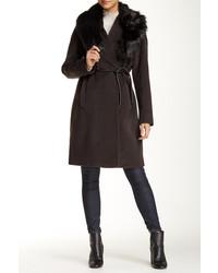 Manteau à col fourrure marron foncé