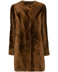 Manteau à col fourrure marron foncé Drome