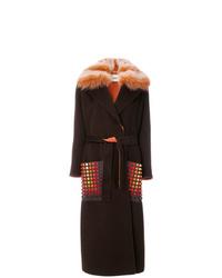Manteau à col fourrure marron foncé Fendi