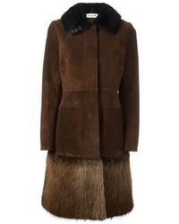 Manteau à col fourrure marron foncé Marni