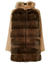 Manteau à col fourrure marron foncé P.A.R.O.S.H.