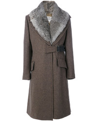 Manteau à col fourrure marron Maison Margiela