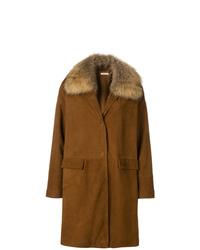 Manteau à col fourrure marron P.A.R.O.S.H.