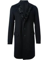 Manteau à col fourrure noir