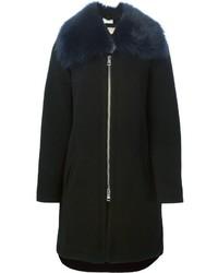 Manteau à col fourrure noir Chloé