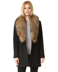 Manteau à col fourrure noir Doma
