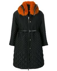 Manteau à col fourrure noir Ermanno Scervino