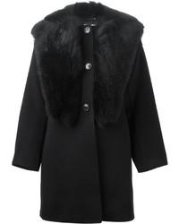 Manteau à col fourrure noir Giorgio Armani