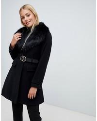 Manteau à col fourrure noir Miss Selfridge