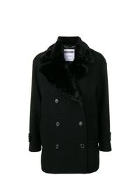 Manteau à col fourrure noir Moschino