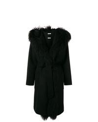 Manteau à col fourrure noir P.A.R.O.S.H.