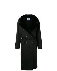 Manteau à col fourrure noir Prada