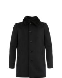 Manteau à col fourrure noir Saint Laurent