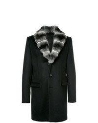 Manteau à col fourrure noir Yves Salomon Homme