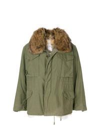 Manteau à col fourrure olive