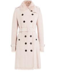 Manteau à col fourrure rose