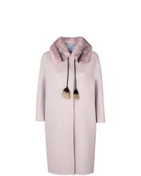 Manteau à col fourrure rose Prada