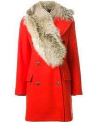 Manteau à col fourrure rouge MSGM