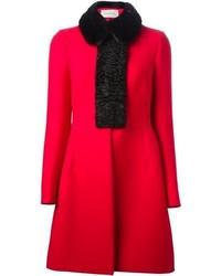Manteau à col fourrure rouge Valentino