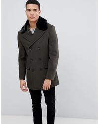 Manteau à col fourrure vert foncé