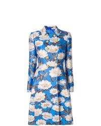 Manteau à fleurs bleu clair Dolce & Gabbana
