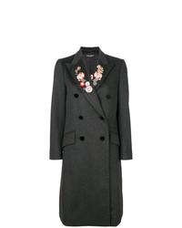 Manteau à fleurs gris foncé Dolce & Gabbana