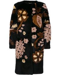 Manteau à fleurs noir Alberta Ferretti