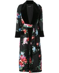 Manteau à fleurs noir Dolce & Gabbana